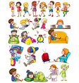 Boys and girls doing activities vector image vector image
