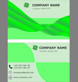business card set template visit brochure green vector image