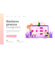 business process management landing page template vector image vector image