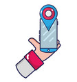 businessman hand with smartphone and location vector image