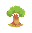 cartoon old oak with long beard humanized forest vector image vector image