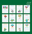 cartoon owls calendar 2019 design vector image vector image