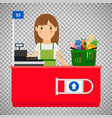 cashier lady on transparent background vector image vector image