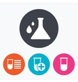 Chemistry bulb with drops sign Medical test vector image vector image