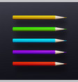 colorful pencil set isolated on black background vector image