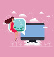 computer desktop with woman in speech bubble vector image
