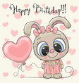 cute cartoon rabbit girl with a balloon vector image vector image