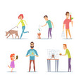 domestic animals owners with their pets cat dog vector image