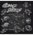 Fish on chalkboard and text vector image vector image
