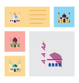 flat icon building set of building traditional vector image vector image