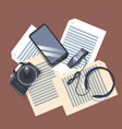 gadgets on workplace top angle view modern camera vector image