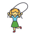 girl with jumping rope concept line icon vector image vector image