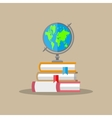 globe pile of books education concept vector image vector image