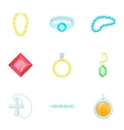 Gold and silver jewelry icons set cartoon style vector image