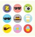 Hipster flat buttons set vector image vector image