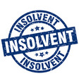 insolvent blue round grunge stamp vector image