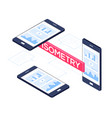 isometric mobile phones - modern colorful vector image