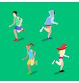 Isometric People Running Man Running Woman vector image