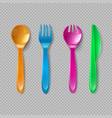 kids plastic cutlery little spoon fork and knife vector image vector image