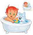 little baby taking a bath and playing vector image vector image