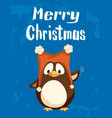merry christmas greeting penguin in funny hat vector image vector image