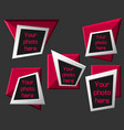 modern origami geometric pink 3d frames on dark vector image vector image