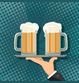mugs with beer vector image