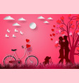 paper art of with man and woman in love and red vector image