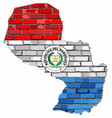 paraguay map on a brick wall vector image vector image