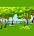 park scene landscape background vector image vector image
