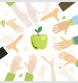 people pull hands to apple vector image vector image