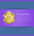 premium choice best exclusive quality stamp label vector image vector image