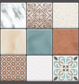 realistic ceramic floor tiles icon set vector image