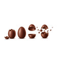 realistic chocolate eggs set easter symbol vector image vector image