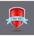 Red glossy metal shield on gray background vector image vector image