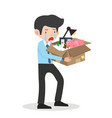 sad businessman with a box in hands leaves work vector image vector image