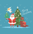 santa claus and merry christmas tree bear vector image