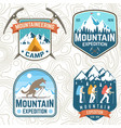 set mountain expedition patches vector image vector image