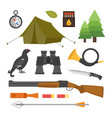 set of vintage hunting symbols camping objects vector image vector image