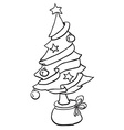 simple black and white christmas tree vector image vector image