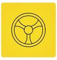 Steering wheel icon Car drive control sign vector image vector image