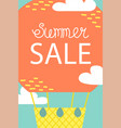 summer postcard with air baloon cartoon vacations vector image vector image