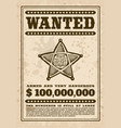 vintage western wanted poster with star vector image vector image