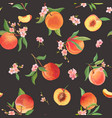 watercolor peach seamless pattern tropic fruits vector image vector image