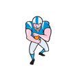 American Football Running Back Fending Cartoon vector image vector image