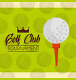 ball on a tee golf club tournament green balls vector image vector image