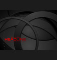 black abstract tech geometric circles background vector image vector image
