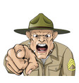 cartoon angry army drill sergeant shouting vector image
