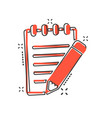 cartoon document with pencil icon in comic style vector image vector image