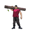 cartoon strong man with a timber on his shoulder vector image vector image